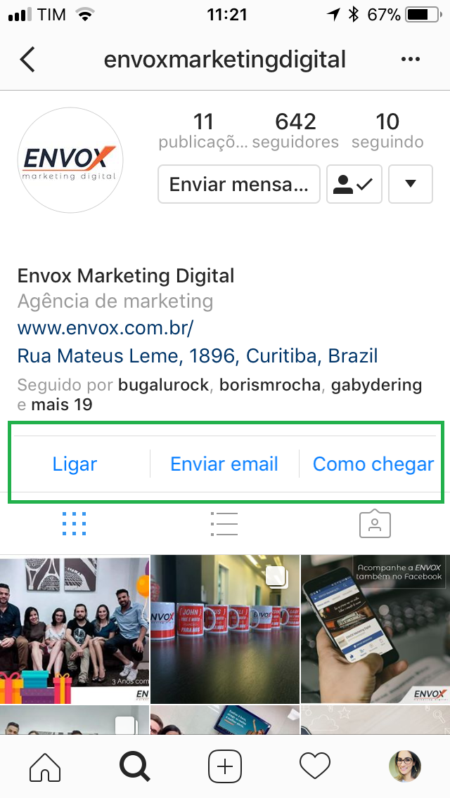 Contato Instagram Envox
