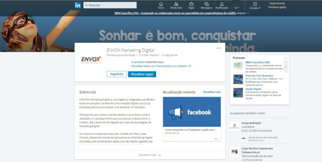 linkedin company page envox