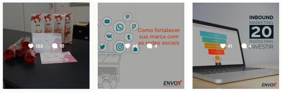Inspiração feed organizado Instagram ENVOX